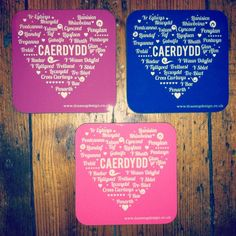Wooden square coaster with 'Caerdydd / Cardiff' design. Includes names of main areas of Cardiff within a heart shape. The perfect gift for anyone who loves Cardiff! Matching Caerdydd mug also available. Cardiff, Cleaning Wipes, Heart Shapes, Dog Tag Necklace, Coasters, Invitations, Mugs, Gifts, Design