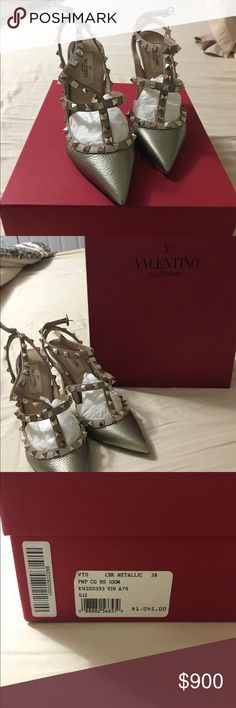 Valentino Garavani rock stud heels. Very lightly worn pewter! These are the most comfortable heels. Retail for $1045 Valentino Shoes Heels