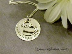 Gift for Grandma - Hand Stamped Jewelry - Grand Kids - Personalized