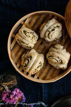 Hua-Juan, panecillos al vapor con cebollino
