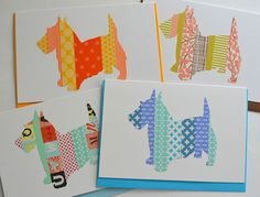 Washi tape card  scottie dog by SuWolf on Etsy, $3.00