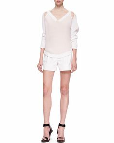 Cold Shoulder V-Neck Sweater & Notched Elastic-Back Shorts by 3.1 Phillip Lim at Bergdorf Goodman.