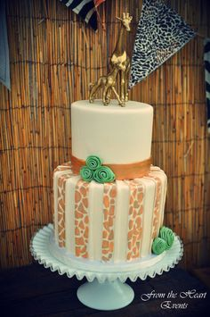 Cake at a Jungle Safari Party. See more party ideas at CatchMyParty.com. #junglepartyideas