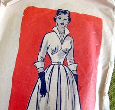 1950s Vintage Sewing Pattern  Dress with High by SelvedgeShop, $16.00