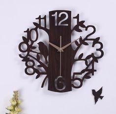 070341 artes criativas 14 polegadas moda silenciado minimalista sala de estar parede de madeira relógio de decoração de casa personalizado em Roteadores instalados de Casa & jardim no AliExpress.com
