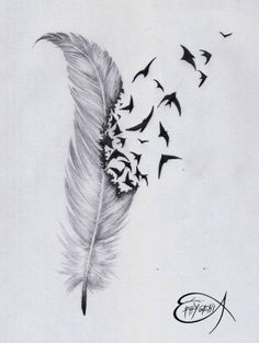 ˚Feather birds tattoo