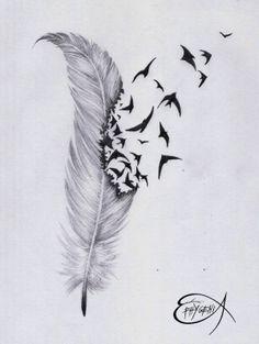 ˚Feather birds tattoo