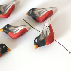Bird Beads Robin Red Breast Polymer Clay Beads 6 от tooaquarius