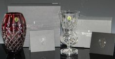 2 @ WATERFORD VASES - PRESTIGE RUBY & THISTLE - Currently Available @ E. M. Wallace Auctions & Appraisals www.EMWAA.com & or info@EMWAA.com