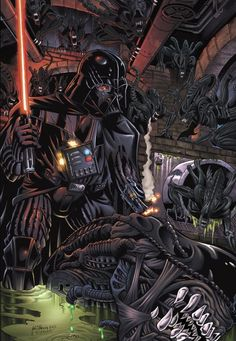 Vader Vs. Xenomorphs. Anakin Vs. Aliens. Art by Hillman, McKenna & Chu FTW!
