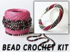 Do It Yourself crochet with beads kit needlework jewelry diy kit bracelet making. Do It Yourself crochet with beads kit needlework jewelry diy kit bracelet making kit diy gift beadin Crochet Diy, Bead Crochet Rope, Diy Jewelry Kit, Beaded Jewelry, Jewelry Making, Jewelry Ideas, Bracelet Turquoise, Armband Diy, Diy Gifts For Mom