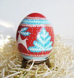 Red  Pysanka with Blue Christmas Trees, batik egg on chicken egg shell, Ukrainian Easter egg, hand painted egg.