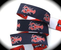 Lobster Woven Ribbon   1   Navy Red and White  New by LesBonRibbon