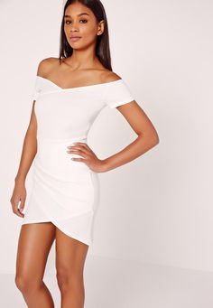 For a standout style this weekend, look to this bardot bodycon number for style inspo. In a chic wrap style, angelic white hue and bardot shoulders, wear with white barely there heels and a nude patent clutch for a sweet yet sleek look.