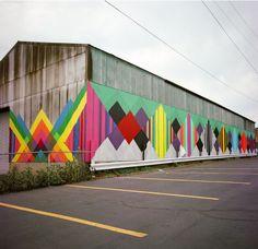 Retro, geometric, street art, mural, graffiti by Maya Hayuk Murals Street Art, Street Art Graffiti, Mural Painting, Mural Art, Street Painting, Wall Murals, Maya Hayuk, Graffiti Artwork, Barn Art