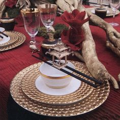 Grace Ormonde Wedding Style Spring Summer 2013. Asian inspired coutour tabletop staged by VISIONS featuring L'Objet Aegean Gold dinnerware, Pagoda Napkin Jewels and ...