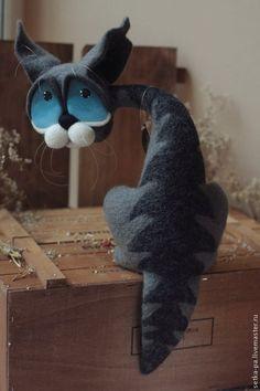 Купить Дворовушка - кот, котик, коты, кот в подарок, котэ, кот из шерсти, шерсть, пластика