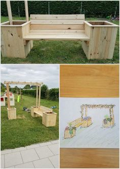 Have you ever thought about adding your house garden location with the innovative designed pergola bench furniture set. This bench is being comprised with the fantastic combination of wood pallet planters around it that would somehow give you out with the impressive flavors to add in your garden areas.