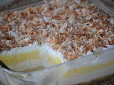 Oh my, lookie at this! Princess Pie - (Coconut Cream Pie Dessert) --- This pan dessert features a homemade crust, cream cheese layer, instant coconut pie layer, and finished off with whipped topping and toasted coconut (opt).