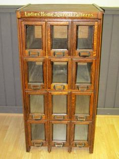 Antique Counter Store Bin Cabinets   Antique Country Store Ladies Home Journal Patterns Cabinet - Store ...