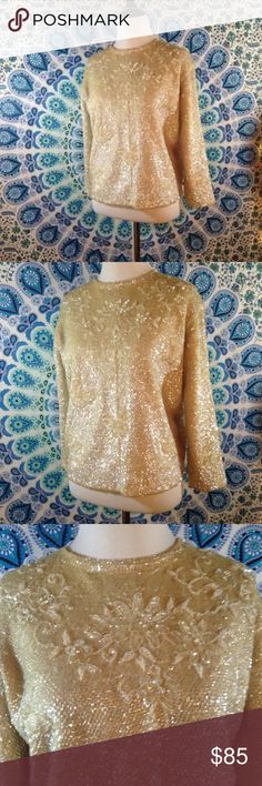 "Vintage 50s L Iridescent Sequined Hollywood Glam Excellent Vintage condition. No stains, holes, or pilling. 3-4 sequins missing near shoulder, as shown in photos.  *Small tear in lining on back neckline, as shown in photos.  Back zipper and hook and eye closure. Zipper length 19""  Fully lined. Lining fully in tact. Minimal rippling in lining, as shown in photos. Fabric content for lining not indicated.   Tag reads:  100% Wool Made in British Hong Kong L  Armpit to Armpit- 20 1/2"" Length- 22""…"