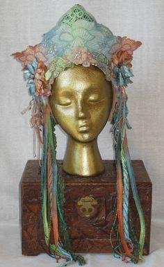 Renaissance Faire Fantasy Fairy Belly dance Bohemian Art Nouveau Queen Princess Crown Wreath Tiara Headpiece Headdress  Hand Dyed Ombre ooak via Etsy