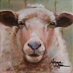 Norma Wilson Original Acrylic Sheep Lamb Portrait Animal Painting Art, painting by artist Norma Wilson