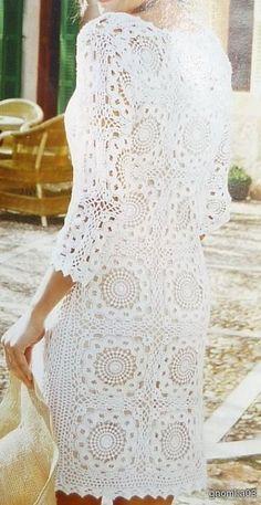 Crochetemoda: Vestido Branco de Crochet:
