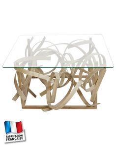 Table basse en lames de bois et verre