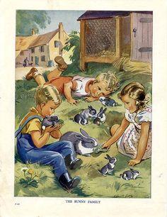 LA FAMILLE DE BUNNY.  Quelle adorable une illustration !  Cette plaque livre mignon vient du bas sur la ferme, un livre illustré par Eileen Soper.  Il était difficile de trouver une date pour la publication de ce livre que je ne pouvais pas trouver quelque chose tout à fait comme ça de le comparer à. Des livres similaires sont marqués comme 1940 donc je pars du principe que celui-ci était un peu plus tôt.  Chaque plaque livre dans cette publication représente deux petits enfants, un garçon…