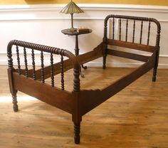 Twin, Single Spool Bed. jenny Lind Style -Ours was mahogany with even more ornate spools...absolutely my fav bed. passed to me from my brother...passed on to my son. It had a matching mahogany secretary we loved too!