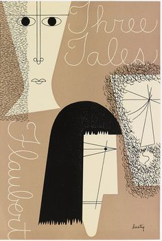 """Bookjacket by Alvin Lustig for """"Three Tales"""" by Flaubert, New Directions Books, 1947"""