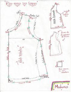 moldes de blusa para niñas, diseño amplio-campana manga sisa, cortada en tela viscosa