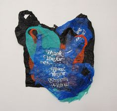 Josh Blackwell - Thinking about the idea of consumer responsibility led me to begin collecting plastic bags from kitchen Textiles, Textile Prints, Textile Design, Textile Art, Plastic Art, Plastic Spoons, Plastic Bottles, Plastic Baskets, Recycled Art
