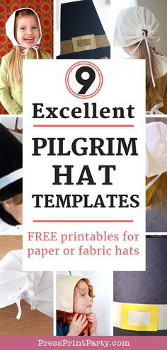 9 free pilgrim hat templates w printables press print party