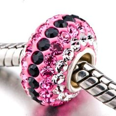 Pugster Pink & Black Crystal Bead Silver Core Fits Pandora Charm Bracelet Pugster. $12.99. Unthreaded European story bracelet design. Hole size is approximately 4.8 to 5mm. Made of .925 Sterling Silver and Crystal. Pugster are adding new designs all the time. Fit Pandora, Biagi, and Chamilia Charm Bead Bracelets