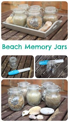 Beach Memory Jars Arts And Crafts Projects, Crafts For Kids, Projects To Try, Beach Memory Jars, Summer Holiday Activities, Junk Modelling, Recycled Jars, Memories Jar, Travel Memories
