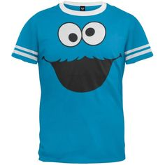 Sesame Street – Cookie Monster Ringer T-Shirt   Sesame Street - Cookie Monster Ringer T-Shirt Root for that baked goody maniac with this sky blue 50/50 cotton/polyester tee featuring Cookie Monster's google eyes and hungry mouth. The soft shirt has a sporty look with a white collar and banded sleeves so you can cheer on your favorite Sesame Street character.  http://www.beststreetstyle.com/sesame-street-cookie-monster-ringer-t-shirt/
