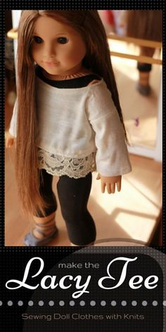 Free pattern for American Girl 18 inch doll - Sew the Lacy Kimono Tee - easy beginner pattern. Modern, trendy, and fast to sew!