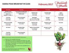 February 2017 Saddle Peak Breakfast Menu