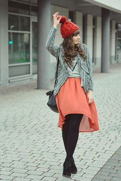 "Coral Romwe Skirts, Silver Chcnova Blouses | ""Windy Friday"" by Maddinka - Chictopia"