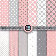 """12 Pink Grey Polka Dots Digital Papers Pack, """"POLKA DOTS"""" Digital papers Clip Art, Instant Download, Scrapbooking, Party paper, Dgp024 on Etsy, $3.00"""