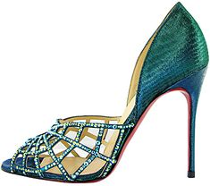 Amazing with this fashion pumps! get it for 2016 Fashion Christian Louboutin Pumps for you! Blue Stilettos, White High Heels, Black Heels, Green Heels, Strappy Heels, Shoes Heels, Caged Sandals, Sexy Heels, Blue Wedding Shoes