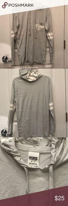 Light Grey Hooded Campus Tee hooded campus tee from pink. light grey with white detailing. says pink on pocket and on hood. cute oversized fit. worn and washed under 5 times, I just don't get enough wear from this and I need to edit my collection haha PINK Victoria's Secret Tops Tees - Long Sleeve