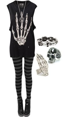 Punk Style with skeleton hand and skull rings. Dark Fashion, Emo Fashion, Gothic Fashion, Fashion Outfits, Womens Fashion, Lolita Fashion, Fashion Boots, Alternative Mode, Alternative Fashion