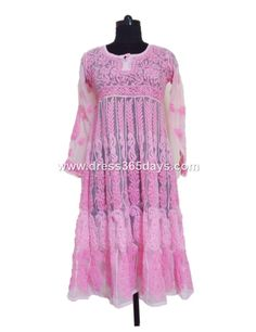 Baby Pink #georgette #anarkali with Chikankari embroidery price $47