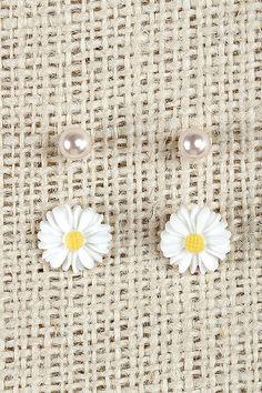 Floral And Pearl Stud Earrings