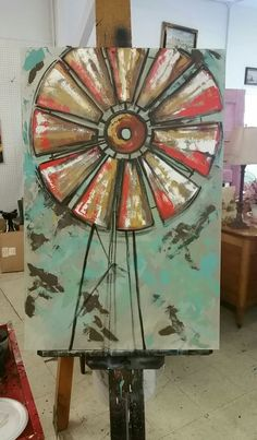 Windmill painted with DixieBellePaint and pallet knife on old crate #rusticcanvaspainting