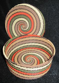 Africa | Lidded telephone wire basket from South Africa | Earth tones.