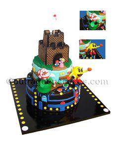 Mario and pac-man cake, outrageouscakes.com